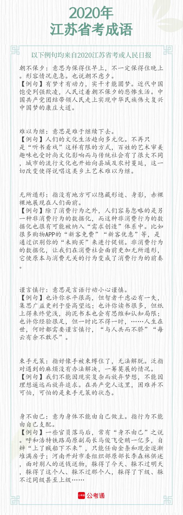 考点梳理!2021年江苏省考中的成语(下)